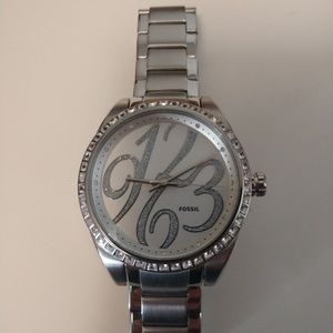 Fossil silver and crystal watch like New!